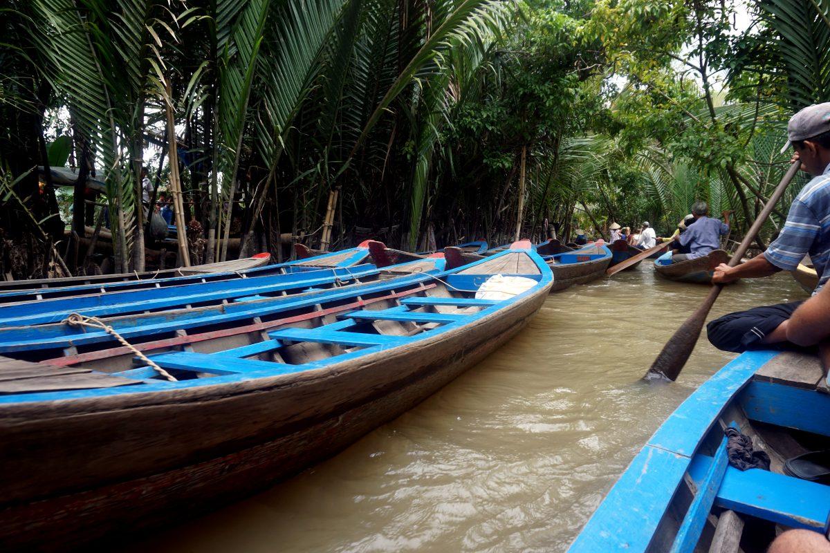 Foto delle barchette sul Mekong Delta.
