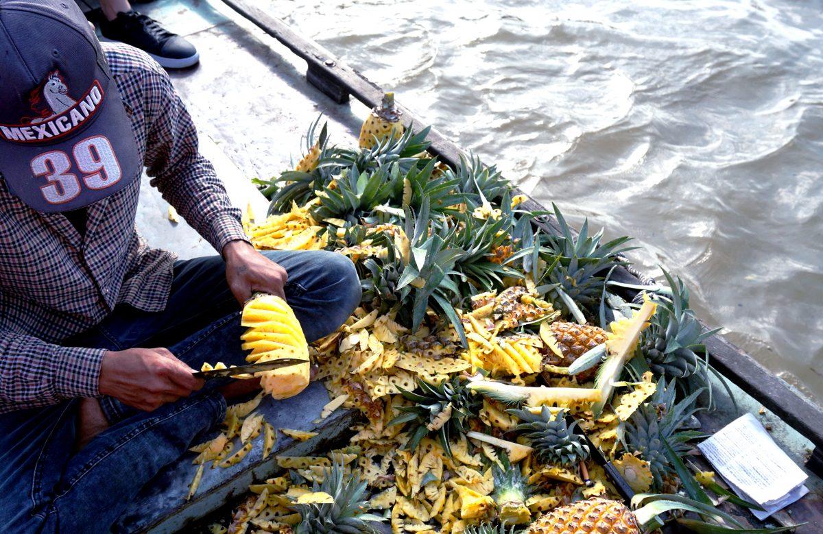 Foto di una barca e un ragazzo che taglio ananas nel Mekong Delta, Vietnam.