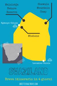 Mappa dell'itinerario di 4 giorni in Swaziland.