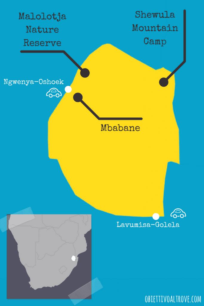 Mappa con itinerario di viaggio in Swaziland.