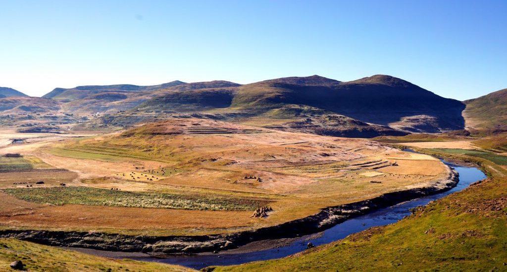 Foto di un paesaggio in Lesotho.