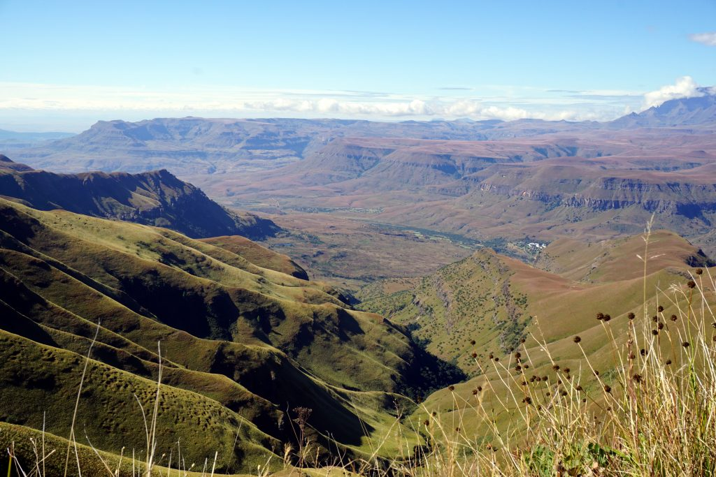 Foto di un paesaggio nelle Drakensberg, Sudafrica.