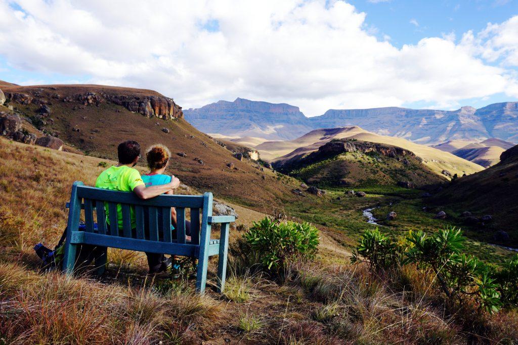 Foto di un bellissimo panorama a Giant's Castle, nelle Drakensberg in Sudafrica.