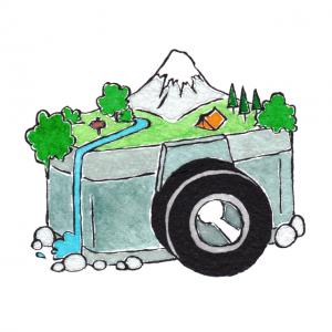 Logo di Obiettivo Altrove, il Travel Blog di Maria Gubert (disegno di Angela Gubert).