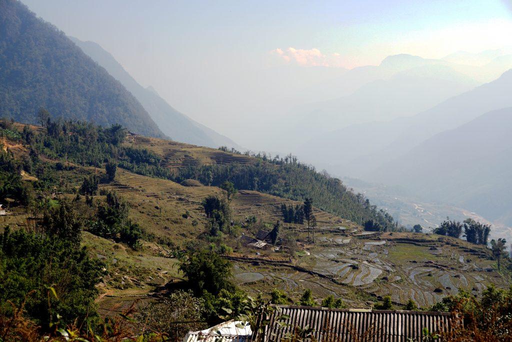 Fotografia dei terrazzamenti di Sapa in dicembre.