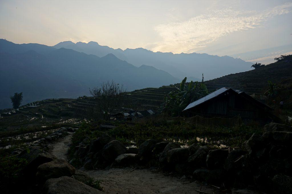 Fotografia del tramonto a Sapa, Vietnam.