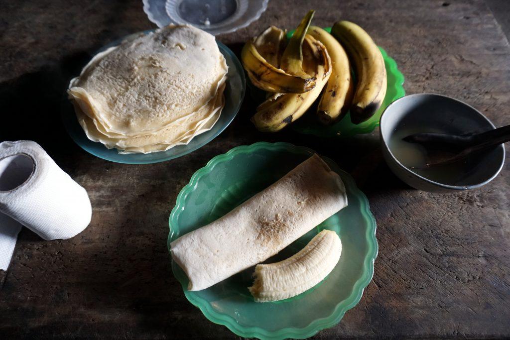 Foto della colazione all'homestay a Sapa, Vietnam del nord.