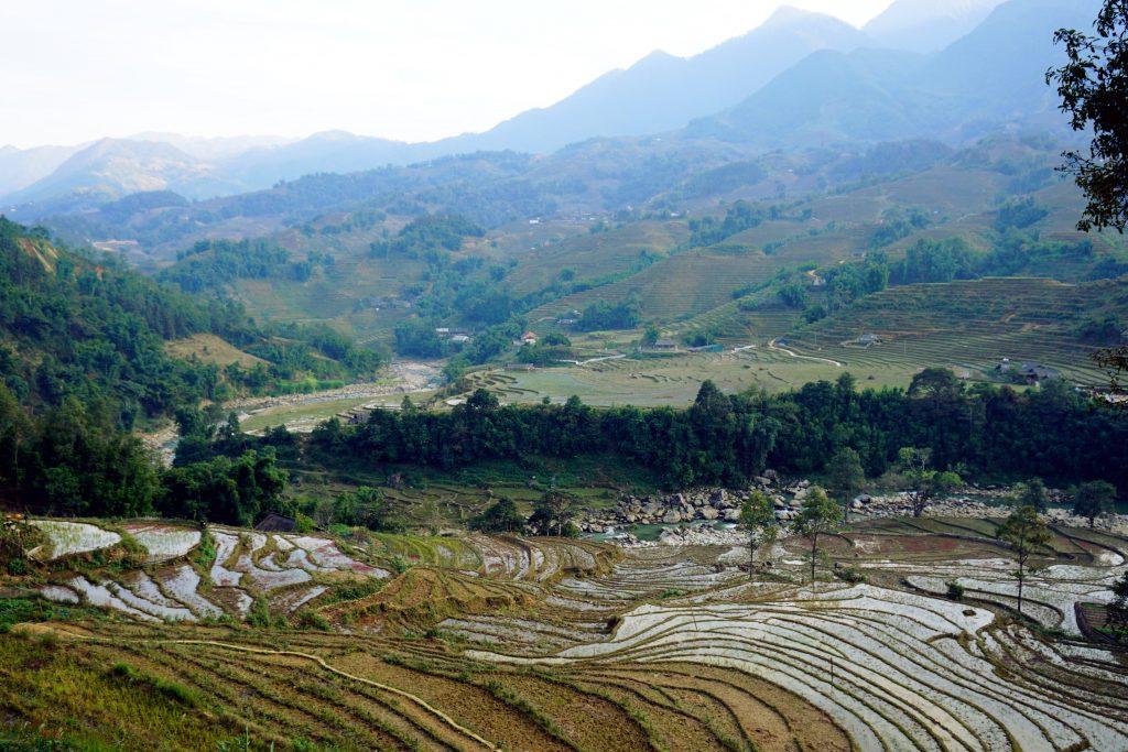 Fotografia dei terrazzamenti visti durante il trekking a Sapa, nord del Vietnam.