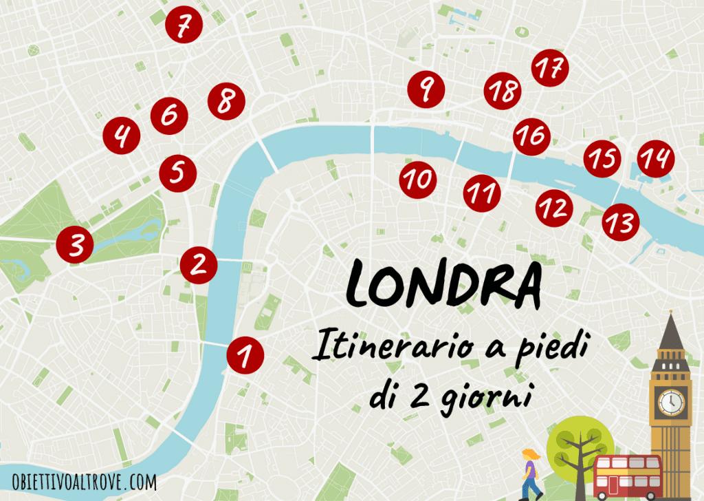 Mappa con itinerario a piedi di due giorni a Londra.