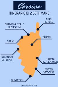 Mappa della Corsica con tappe per un itinerario di due settimane.