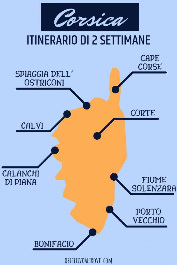 Itinerario di 2 settimane in Corsica in una mappa stilizzata.
