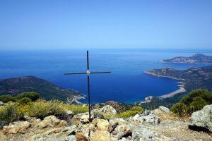 Foto panoramica dalla cima di Capu Tondu, Corsica.
