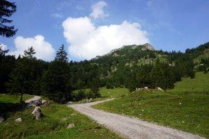 Foto di un sentiero in montagna nelle Alpi Bavaresi.