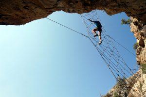 Foto della rete della Via Ferrata A Buccarona, Corsica.