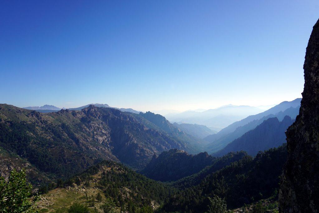 Foto del panorama durante l'escursione sul Monte Rotondo, Corsica.