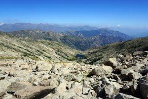 Foto panoramica durante la salita sul Monte Rotondo, Corsica.