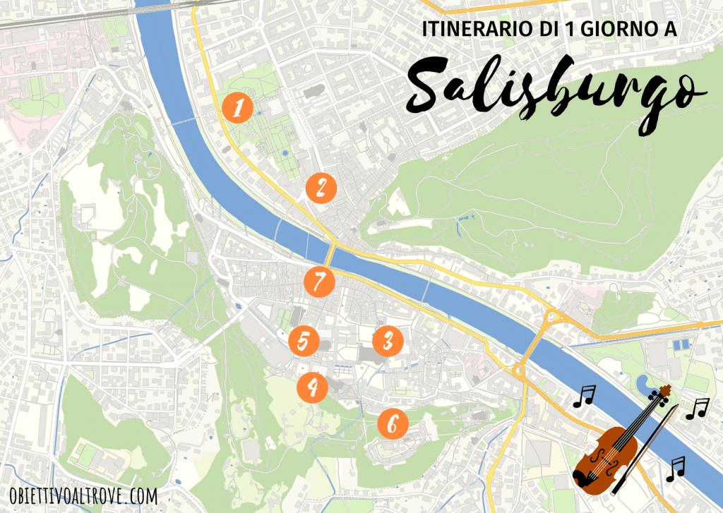 Mappa di Salisburgo con itinerario di un giorno a piedi